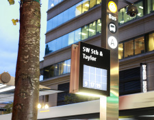 traffic signs, portland traffic signs, downtown portland, oregon signs, public transit